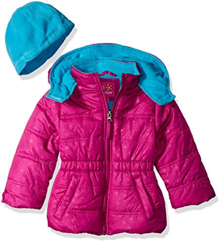 Pink Platinum Little Girls' Toddler Star Printed Puffer with Hat, Berry, 3T