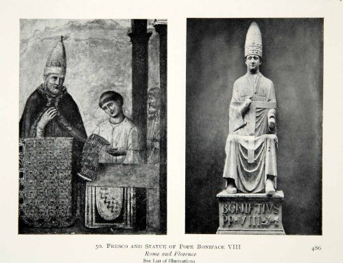 1915 Print Fresco Statue Pope Boniface VIII Rome Florence Italy Religion History - Original Halftone - Florence Statues In