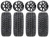 Bundle - 9 Items: MSA Black Diesel 14'' ATV Wheels 28'' Regulator Tires [4x156 Bolt Pattern 12mmx1.5 Lug Kit]