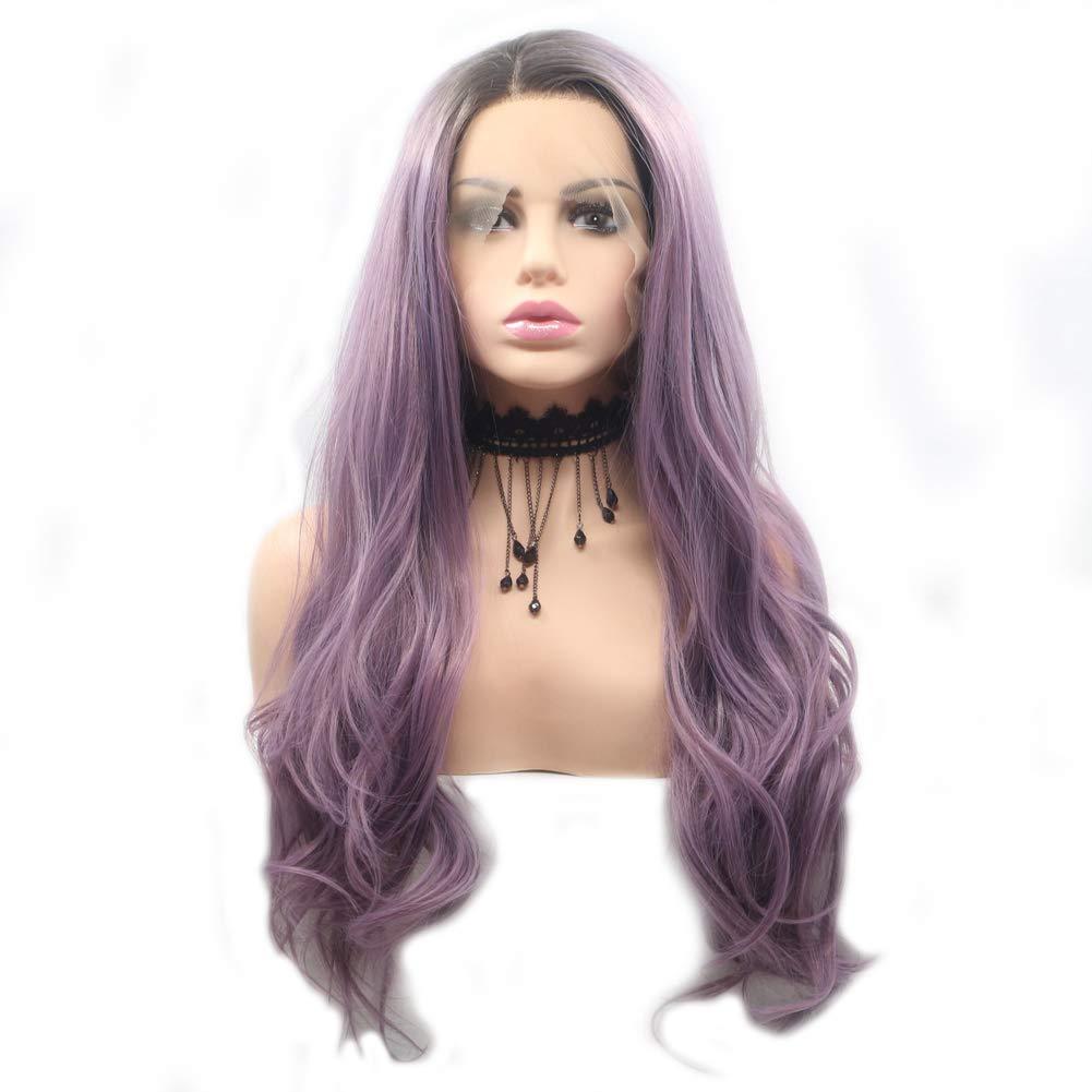 Wig Female, Cosplay Wig Set, lila Big Wavy Haar,lila