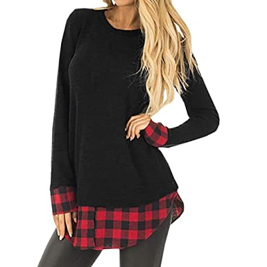 6cf7fd68d93 Staron Clearance Womens Clothing Blouse Loose Long Sleeve Plaid Patchwork T-Shirt  Tops (S