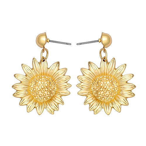 CHUANGYUN Brilliantly Gold Plated Sun Flowers Earrings for Women Drop Earrings Flowers Earrings