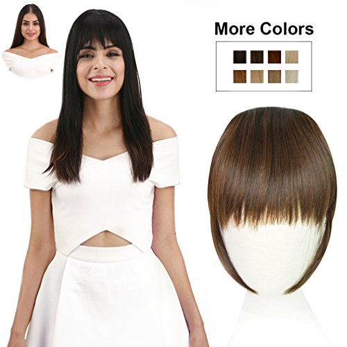 REECHO Fashion One Piece Clip in Hair Bangs / Fringe / Hair Extensions Color: Medium Warm Brown