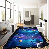 LHDLily Aesthetic Cosmic Star Earth 3D Custom Floor Stickers Moisture Proof Thickened Bathroom Flooring Wallpaper Mural 350cmX250cm