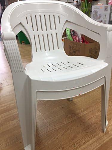 Color blanco sillas de jardín plástico PVC resina plástico marca X 4: Amazon.es: Jardín