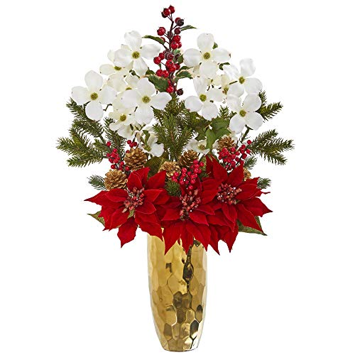 (Nearly Natural 1991 27in. Poinsettia, Dogwood, Holly Berry and Pine Artificial Gold Vase Silk Arrangements, Red/White )