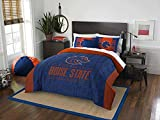 3 Piece NCAA Broncos Comforter Full Queen Set, Blue Orange Multi Sports Patterned, College Football Themed Bedding, Team Logo Fan Merchandise Athletic Team Spirit Fan, Polyester, For Unisex