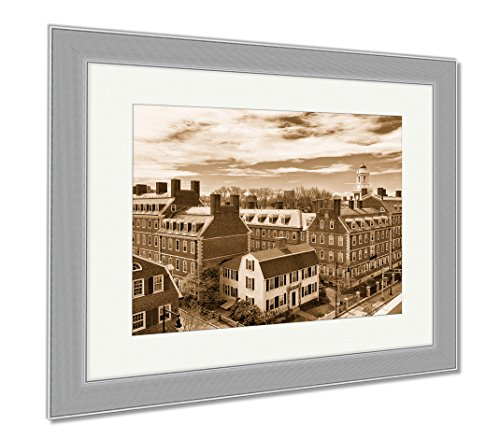Ashley Framed Prints Kennedy Street In Harvard University Area In Cambridge Ma USA, Wall Art Home Decoration, Sepia, 30x35 (frame size), Silver Frame, - Framing Cambridge Ma