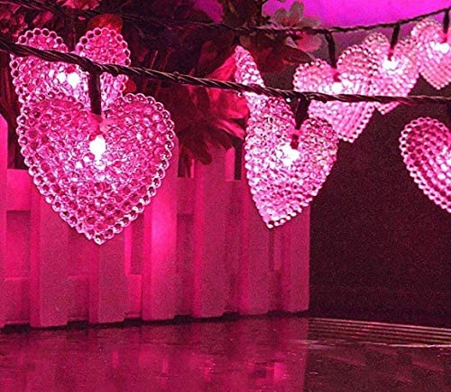 Solar Heart Lights, DINOWIN Outdoor Heart Lights 30LED 19.7ft with 8 Mode Working Lighting Waterproof for Christmas Tree Party Wedding Garden Decorate Pink