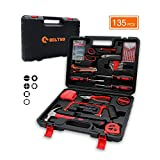General Household Hand Tool Kit, BOLTHO 135 Piece Multi Functional Auto Repair Tool Set, Precision Screwdriver Hammer Set for Household Electronics Test Repair with Plastic Toolbox Storage Case