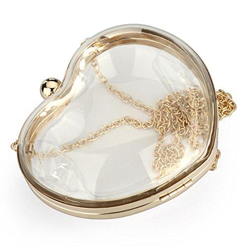 YYW Heart Shaped Clutch Bag, Poschette giorno donna trasparente Transparent