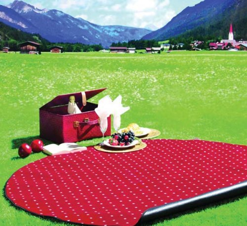 Picknickdecke Alpenchic rot-weiss gepunktet: Amazon.de: Küche ...