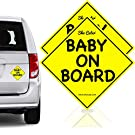 Sho Cute - Baby On Board - 2 Pack Car Magnet Sign | Baby Board | Bright Yellow & Reflective | Weather Resistant UV Printing | Must Have Travel Accessories for Baby Safety | Baby Gift Boy or Girl