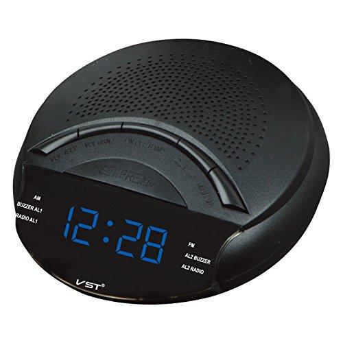 Elong Auto Search am fm Digital Alarm Clock Radio Blue for Bedrooms Gift for Elder