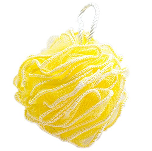Price comparison product image Huachnet Yellow HDPE Mesh Exfoliating Bath Sponge Shower Pouf Loofah - Pack of 1
