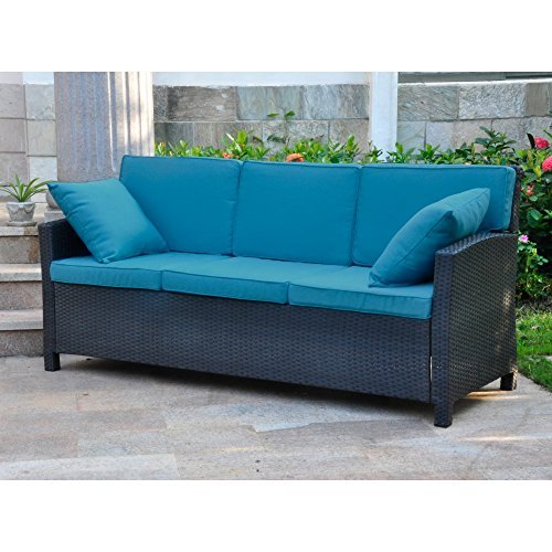 International Caravan 523829-OG-145583-O-783382 Wicker Resin Steel Patio Sofa with Cushions, Black/Navy Blue/Antique ()