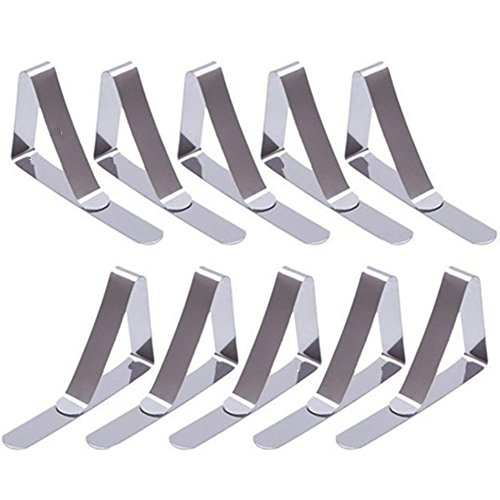 PEIUJIN Tablecloth Holders Clips, 10 Pcs Stainless Steel Table Cover Clamps Tablecloth Clips, Stainless Steel Durable, Rust-Free, Windproof Clip (Silver 10Pcs)