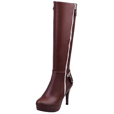 AIYOUMEI Damen Winter Stiletto Kniehohe Stiefel mit Plateau und 10cm Absatz  Elegant Modern Knee High Boots c7ca315bc8