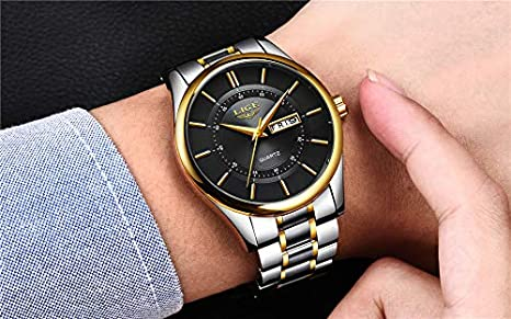 Amazon.com: LIGE Men Watch 30m Waterproof Mens Watches Top Brand Luxury Steel Watch Chronograph Male Clock Casual Sport relojes Hombre 70 (Gold Black ...