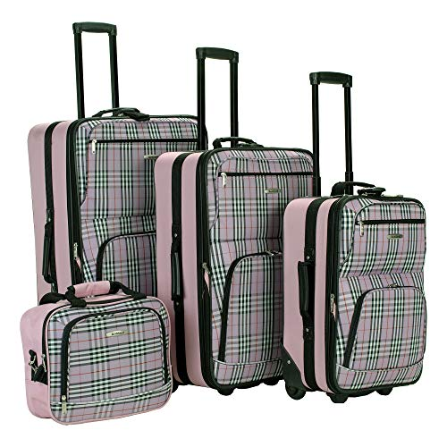 Rockland Fashion Softside Upright Luggage Set, Pink Cross