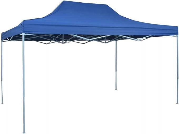 vidaXL Carpa de Fiest Jardín Plegable Pop-up Acero Tela Azul 3x4,5 m Cenador