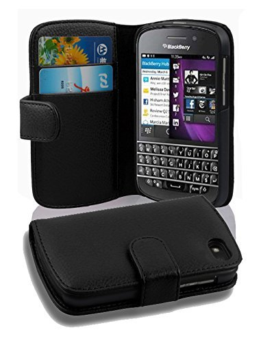 Cadorabo Case Works with BlackBerry Q10 in Oxid Black (Design Book Structure) - with 2 Card Slots - Wallet Case Etui Cover Pouch PU Leather - Black Blackberry Leather Pouch
