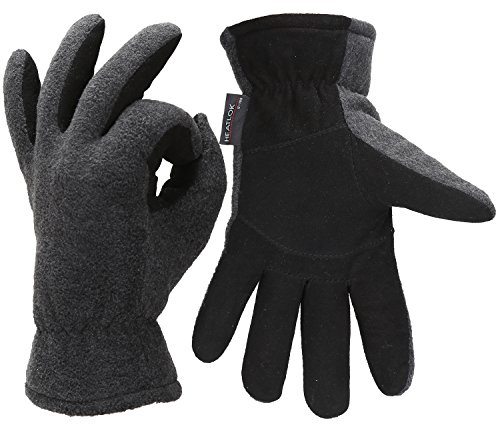 (Men Winter -20°F Cold Proof Thermal Gloves, Deerskin Leather Palm & Fleece Lined)