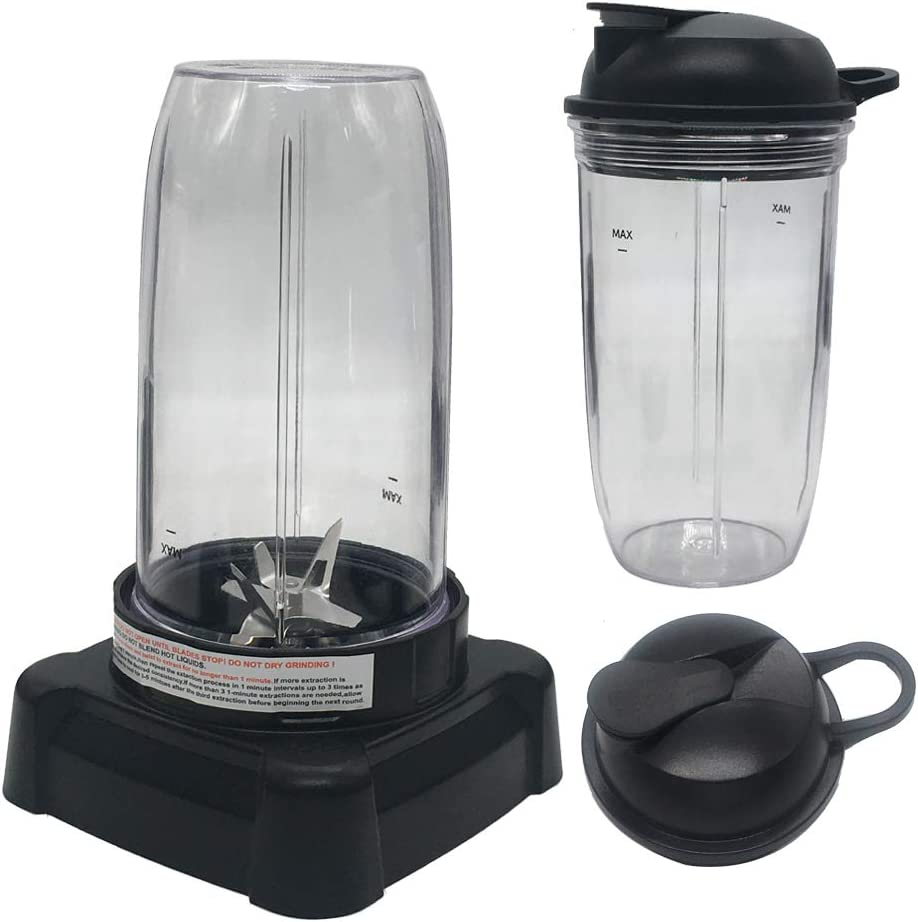 Update Extractor blades and 24oz/32oz cup with lid,Compatible with Ninja Mega Kitchen System Blender BL770A 30/ BL770 30/BL773CO 30/BL771 30/BL772 30/BL780 30(24oz cup1+32oz cup1)