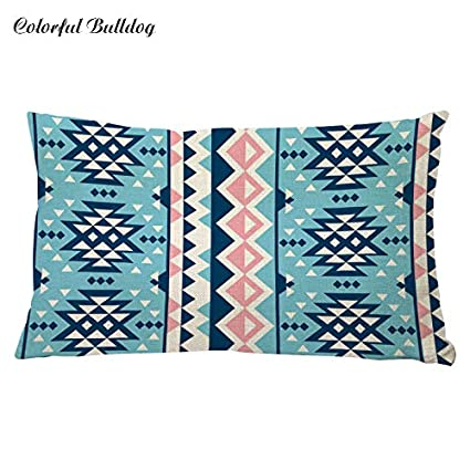 Amazon.com: 2017 Rectangle Geometric Pillow Cover Colorful ...