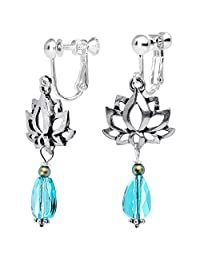 Body Candy Silver Plated Spiritual Lotus Clip On Dangle Earrings Created with Swarovski Crystals