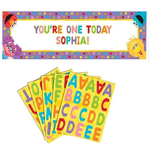 Amscan Fun Sesame Street 1st Birthday Personalized Giant Party Sign Banner, 65