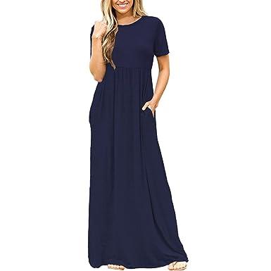 1237eb44f9c5ba Damen Sommerkleid Kleider Maxikleid einfarbig kurzarm Rundhals High Waist  Lang Kleid Partykleid (XS, Marineblau): Amazon.de: Bekleidung