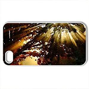 SUN BEAMS THROUGH THE TREE BRANCHES - Case Cover for iPhone 4 and 4s (Sky Series, Watercolor style, White)