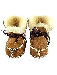 HONGTEYA Sheepskin Baby Bootie- Infants Warm Fur Wool Girls Baby Plush Boots Leather Boy Shoes