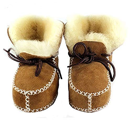 - Winter Baby Snow Boots Infants Warm Shoes Fur Wool Girls Baby Booties Sheepskin Genuine Leather Boy Boots (13cm, Brown)