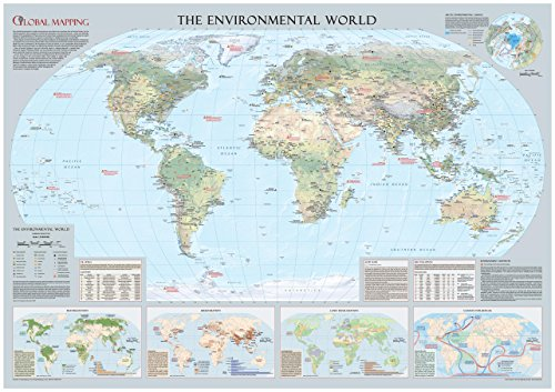 Environmental World Wall Map - Large - 53 x 37.25 inches - Laminated by Global Mapping