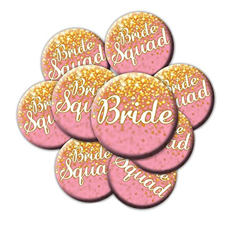 16 Pink and Gold Bride Squad Buttons - Bachelorette Buttons - Bridal Party Buttons - Pink and Gold Bridal Shower -