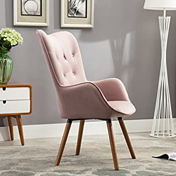 Roundhill Furniture Doarnin Contemporary Silky Velvet Tufted Button Back Accent Chair, Mauve
