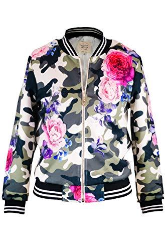 Hannah Banana, Big Girls' Fashion Bomber Jacket with Stonework and Stripe Rib Bands, Size 7-16 (Floral Camo, 10) - Bomber Rib