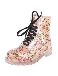 Women's Cute Print Waterproof Lace-up Ankle Rain Boot
