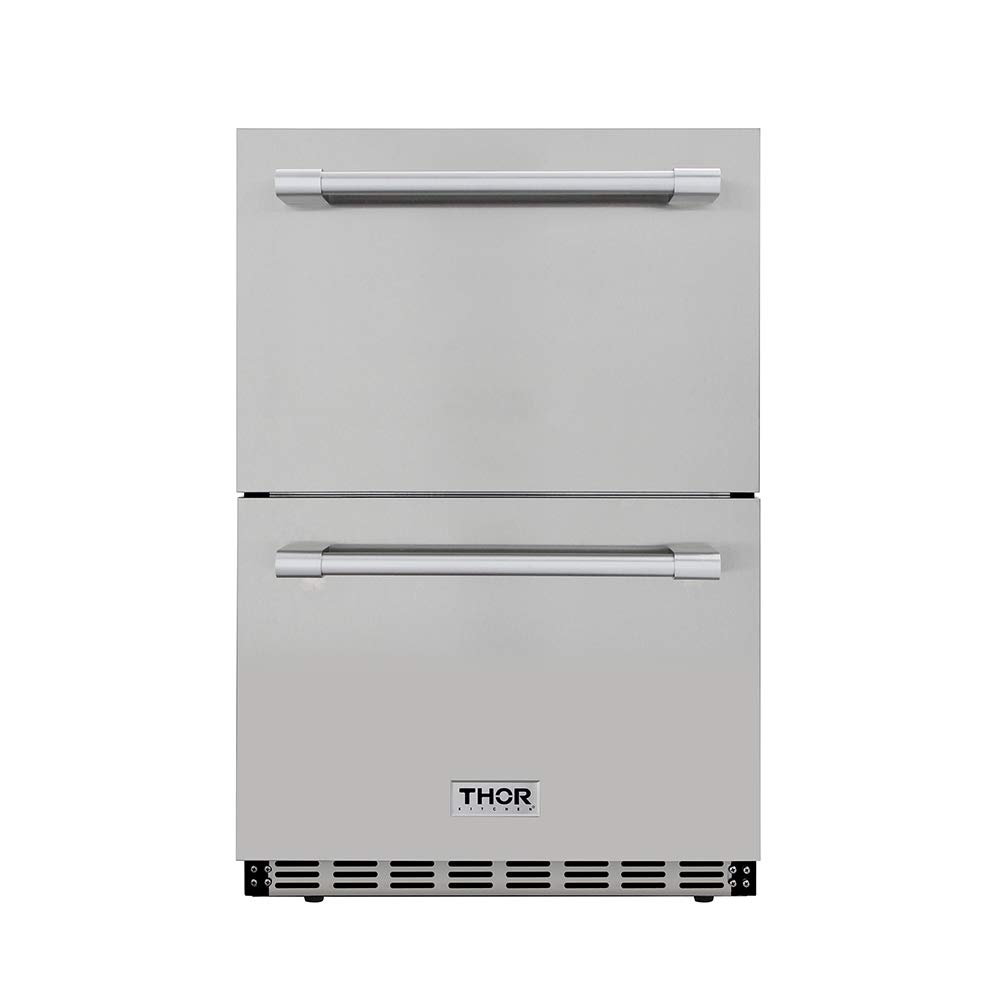 "Thor Kitchen 24"" Built-in Refrigerator 2 Drawers Under Counter Ventilated Coolin 5.3cu.ft HRF2401U"