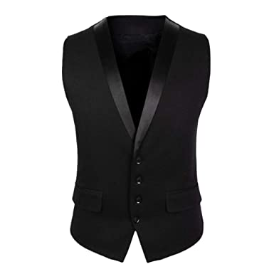 314ed5552a MyMei Men's Cotton Waistcoat Slim Fit V Neck Suit Vest Single-Breasted 4  Buttons Casual Business Wedding Party Wear: Amazon.in: Clothing &  Accessories