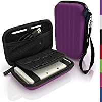 iGadgitz Purple EVA Hard Travel Carry Case Cover for New Nintendo 3DS XL (All versions) with Clip On Carry Strap