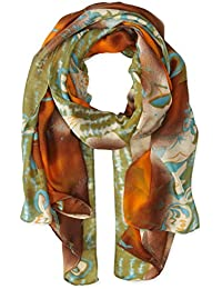 Women's Abstract Floral Print Scarf with Swirls