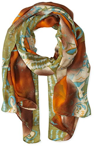 La Fiorentina Women's Abstract Floral Print Scarf with Swirls, Brown Combo, One Size