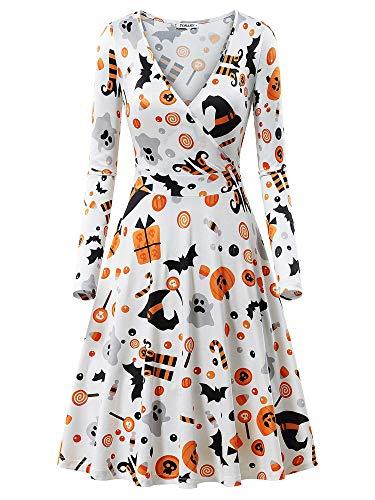 Winter Themed Dress (TORARY Womens Long Sleeve Deep V Neck Plated Halloween Party Skater Dress Medium)