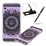 Rubber Case for Huawei Honor 8X,Herzzer Premium Stylish [Black Mandala Printed] Scratch Resistant Ultra Thin Soft Gel Silicone Transparent Clear Crystal Slim Fit TPU Back Cover