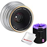 7artisans 25mm F1.8 Large Aperture Portrait Manual Focus Lens for Sony E-mount Cameras,with Caden Lens Pouch Bag,Silver