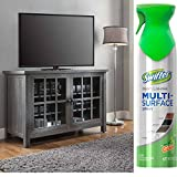 """Oxford Square TV Stand and Console for TVs up to 55"""" with Swiffer Dust & Shine Furniture Polish Spray Cleaner (Grey)"""