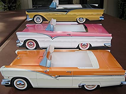 9 ~ Ford Hot Rod Cardboard Cars Kids Food Box Tray Table Center Party Favor